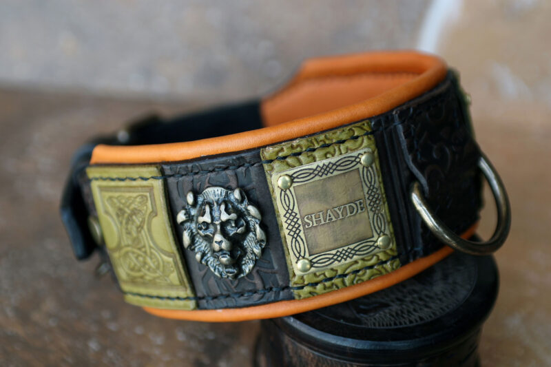 Personalized dog collar with lions SIMHA by Sauri Workshop