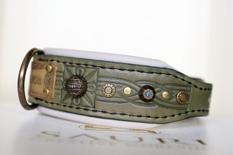 Green medium dog collar with name SANGITA Workshop Sauri