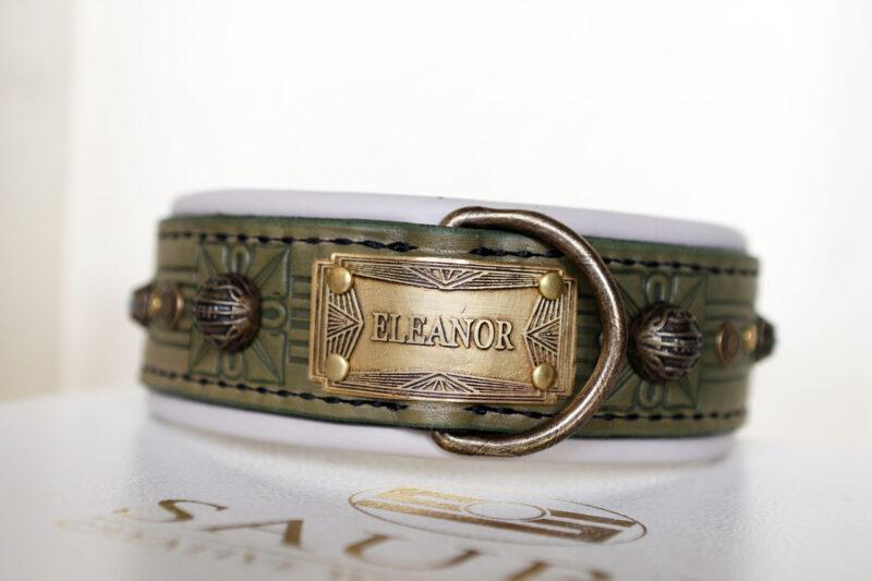 Unique leather collar with name SANGITA Workshop Sauri