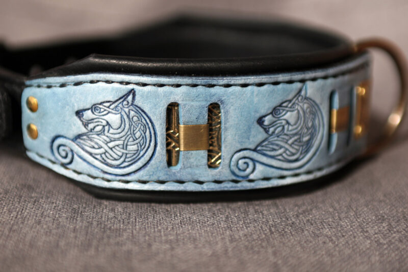 Blue leather wolf themed dog collar by Workshop Sauri