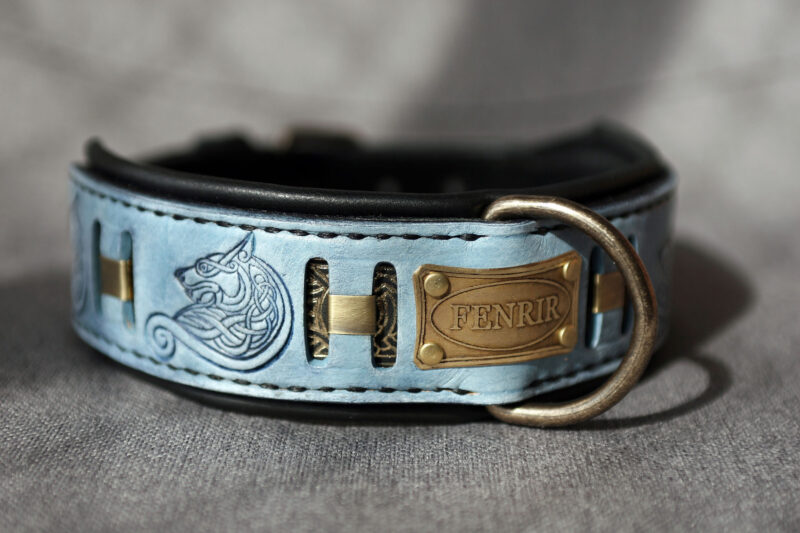 Personalized wolf themed dog collar FENRIR by Workshop Sauri