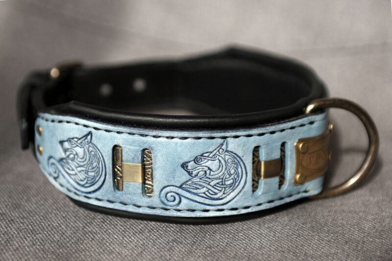 Wolf themed dog collar FENRIR by Workshop Sauri