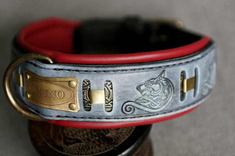 GRAY FENRIR wolf themed fancy dog collar by Workshop Sauri