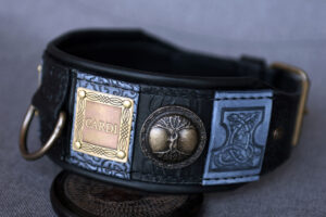 Designer luxury black and grey dog collar by Workshop Sauri