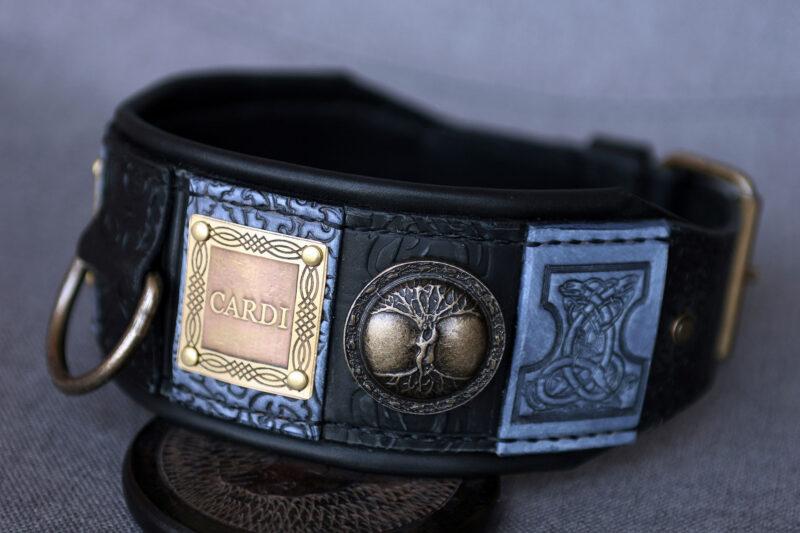 Designer luxury black and grey dog collar by Workshop Sauri