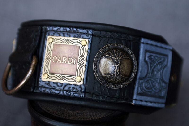 Luxury black and grey dog collar by Workshop Sauri