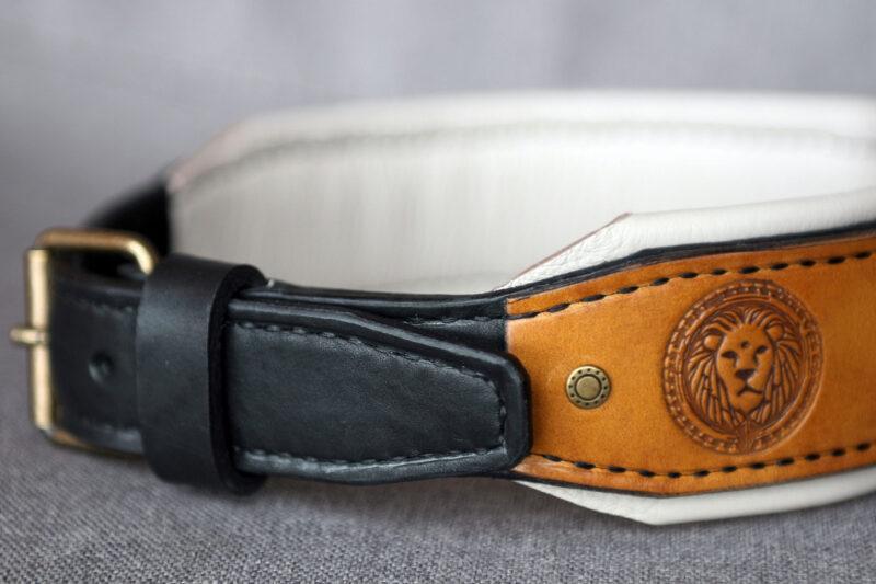 Luxury designer dog collar with nameplate MAASAI by Workshop Sauri